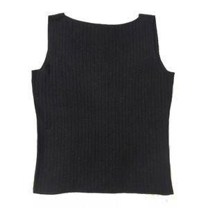 DANA BUCHMAN Black Metallic Silk V-Back Knit Tank